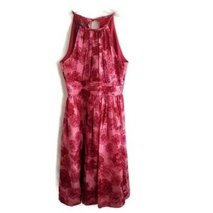 Kristin Davis Women's Halter Red Pink Floral Dress